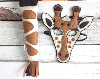 Giraffe Costume - Felt Animal Mask - Wool or Eco Felt - Mask and Tail Costume Gift Set