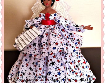 USA Celebration Angel, African American Patriotic Angel Tree Topper, Star Spangled Banner Doll, Handmade Black Doll, Porcelain Angel Treetop