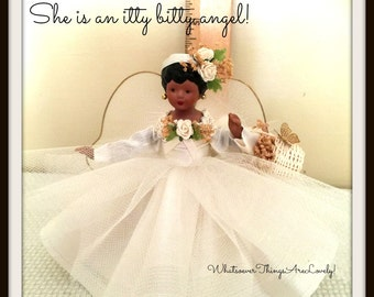 African American Miniature Angel Handcrafted Valentine Gift OOAK Collectible Mini Black Angel Tree Topper