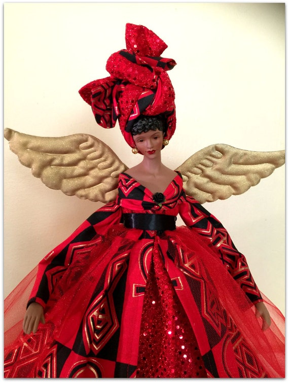 Afrocentric Christmas Angel Tree Topper African American Kwanzaa Treetop Black Angel Doll