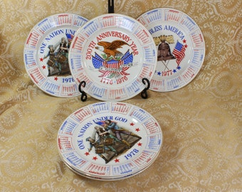 Vintage Patriotic Plates- Your Choice- 1976, 1977, 1978 Calendar- Liberty Bell, God Bless America, One Nation Under God, Eagle, Bicentennial
