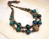 Brass Chrysocolla Necklace Multi Strand Necklace Antique Brass Necklace