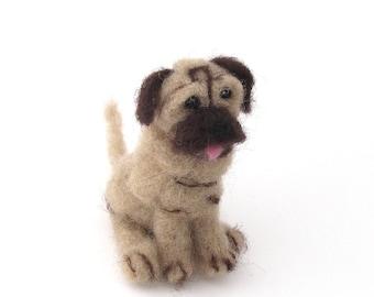 Felted pug - needle felted dog - wool felt miniature pet - pocket dog, pug pup