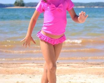 Pink Swimsuit - Swimsuit - Girls Swimsuit - Rash Guard Swimsuit - Two Piece Swimsuit - Toddler Swimsuit - Girls Beach Outfit - Girls Swim