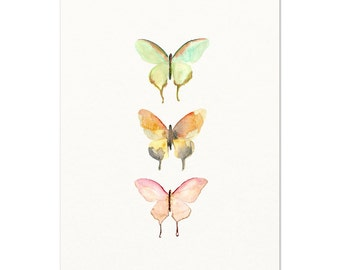 Pastel Watercolor Butterfly Art Print. Pink / Green / Orange Butterfly Poster. Unique Modern Nursery Wall Art. Soft Colored Butterfly Art.