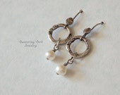 White Freshwater Pearl Earrings, Small Earrings, Textured Fine Silver Hoops with Tiny Pearl Drop, Hammered Sterling Silver, June Birthstone