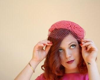 Vintage pink roses 1950s hat, birdcage veil netting, formal pillbox