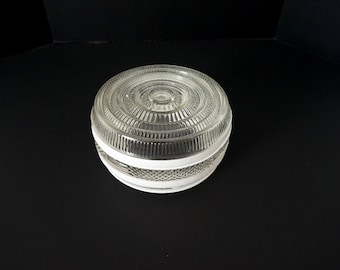 Round  Clear and White Vintage Ceiling Light Fixture Shade