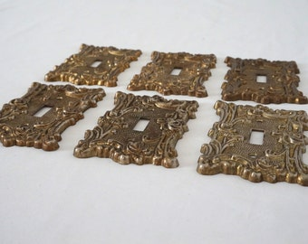 Decorative Cast Metal Vintage Switch Plate Covers 70s Hollywood Decor