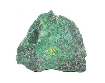 Volborthite rare crystalline yellow mineral with Chrysocolla on Quartzite Rock Matrix, Geo Mineral Specimen, Geology Natural Science Display