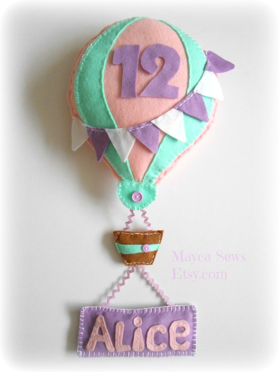 Hot Air Balloon with Personalized Name Banner for Monthly Baby Photos. Made to Order.