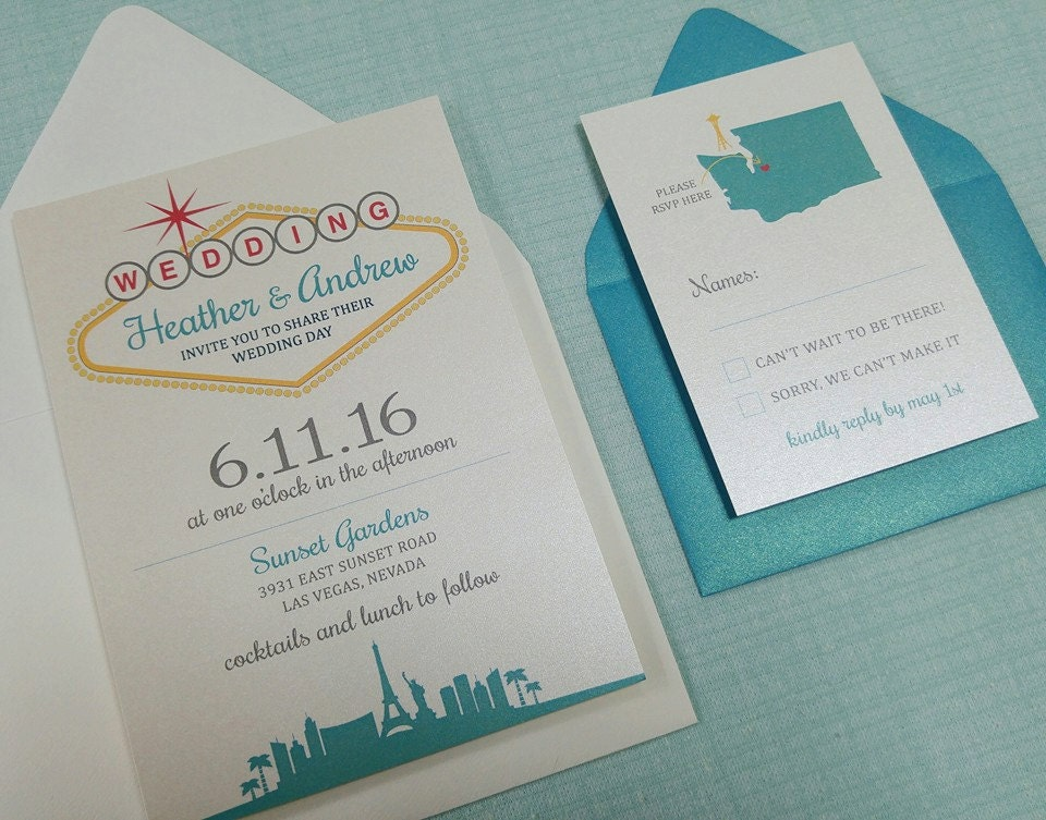 Las Vegas Wedding Invitation Wording: Custom Las Vegas Themed Wedding Invitation By
