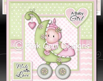 Baby Girl Buggy Downloadable Card Kit with Decoupage. New Baby