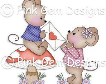 Digi Stamp Valentine Mice  - Mouse, Mice, Makes Cute Valentine Cards