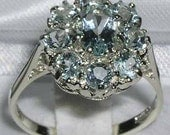 Solid 10K White Gold Natural Aquamarine Engagement Ring English Antique Design Floral Ring Cluster Flower Ring  Customize14K18K