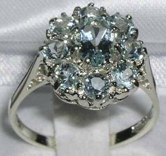 Solid 10k White Gold Natural Aquamarine Engagement Ring