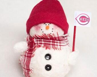 Cincinnati Reds Snowman Ornament