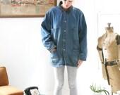 Vintage Denim Chore Coat Dickies Barn Jacket Corduroy Collar Men's Large