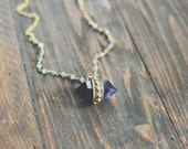 Amethyst Quartz Nugget & Labradorite Rosary Chain Necklace // Long Necklace // Gold Necklace // Boho Chic // Fall Style