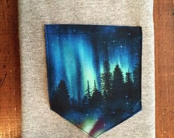 Northern lights alaska pocket tee shirt explore s/m/l/xl