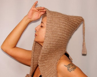 Beige Chunky Hat, Hooded Scarf, Cowl Ear Flap, Knit Beanie, Hooded Hat, Scoodie, Warm Neck Cowl Hat Camel Men Hat Women with Leather Fringe
