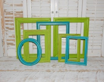 Lime & Turquoise Frames 7 Distressed Shabby Country Chic Frames Open Frames