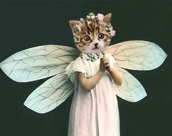 Natalia, Angel Cat Print, Anthropomorphic, Whimsical Cat Art, Kitten Photo, Nursery Decor, Cat Wall Hanging, Digital Cat Art, Funny Animal
