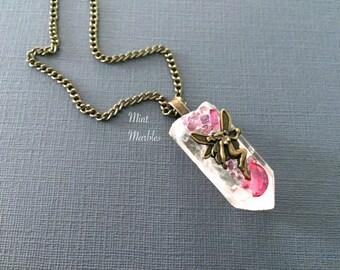 Quartz Crystal Fairy Necklace. Vintage Style Brass. Glass Stones. Pink. Purple. Fantasy. Fairy Jewelry. Healing. Power Stone. Boho. Arrow.