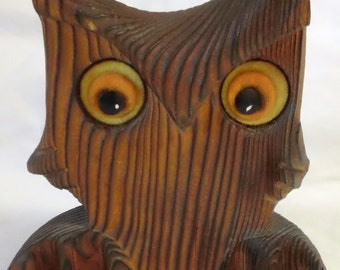 Vintage 70s Wooden Owl Home Office Decor Statue