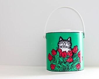 Vintage Retro B. Kliban Cat Ice Bucket • Kliban Cat with Roses Ice Bucket