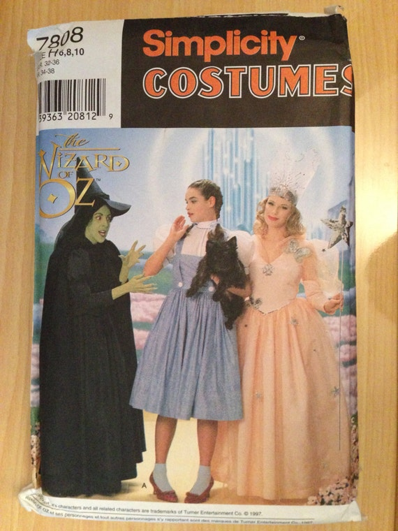 Simplicity Sewing Pattern 90s 7808 The Wizard of OZ Costume Sizez 6-8-10 Uncut