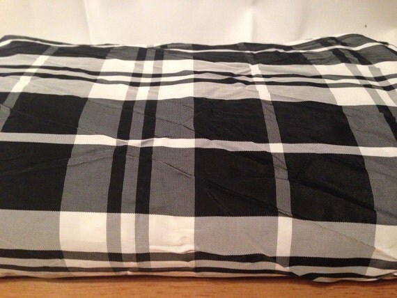Black and White Plaid Acetate Fabric F46