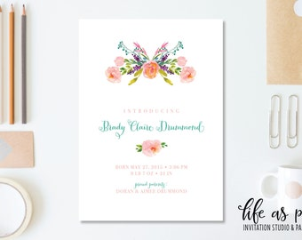peony baby birth announcement