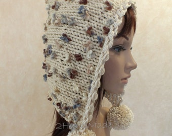Hand Knit Adult Elf Pixie Hood Hat Super Chunky Pom Poms Beige Ivory Merino Wool Womens Accessories Colorful Flowers Multicolor Winter