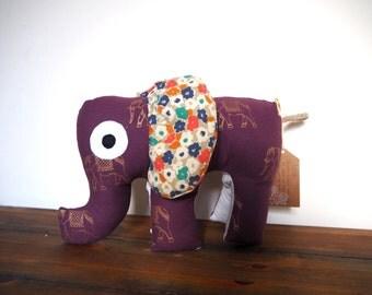 Meet Erin. The Boho Purple Elephant, Soft Toy, Animal Plushie, Animal Cushion