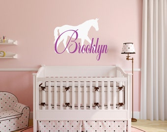 Horse Wall Decal, Horse Decor, Horse Nursery, Equine Nursery, Equine Wall Decal, Nursery Name Decal, Personalized Horse Decal - WD0109