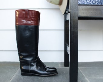 Vintage Italian Women's Brown Trim Knee High Equestrian Riding Boots w/ Leather Soles