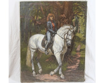 Big 26x32 Mid Century Oil Painting Woman Riding White Horse in Forest Equestrian