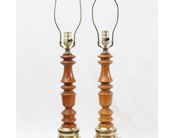 Small Turned Wood Table Lamps Pair Candlestick Style Rustic Cabin