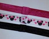 MINNIE MOUSE - Set of 3 Fold Over Elastic (FOE) 5/8 Inch Headbands - Ships Immediately