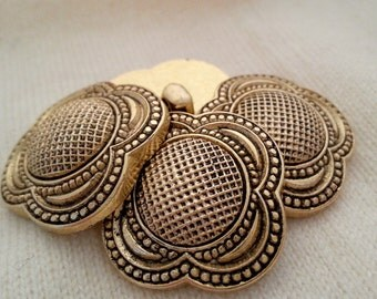 """4 Gold tone buttons - large vintage Victorian style faux rivetted, 28mm 1 1/8"""""""