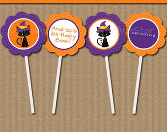 Orange and Purple Halloween Cupcake Toppers - Printable Halloween Party Decor - Halloween Birthday Favor Tags - INSTANT Halloween Cat Tags