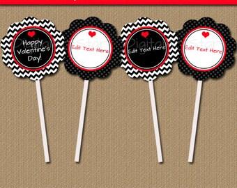 Valentines Day Cupcake Toppers, Valentine Cupcake Picks, Editable DIY Valentine Decor, Printable Valentine Tags, Valentine Party Decor RBCV