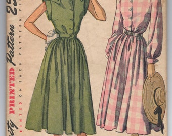 1940's Simplicity One-Piece Dress with shoulder detail Pattern - Bust 32' - No. 2407