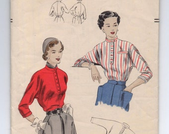 "1940's Blouse with Kimono Sleeves, High Neckline and Collar Pattern by Vogue - Bust 34"" - No. 6837"
