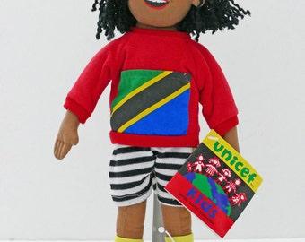 Very rare Vintage Soft Cloth UNICEF Doll, Moza from Tanzania