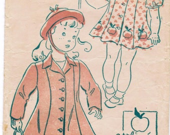 New York Gold Seal Vintage 40s Toddler Girls Super Cute Panel Dress and Coat Sewing Pattern Size 1