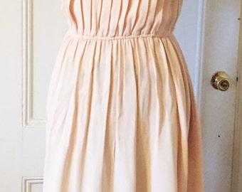Vintage Pale Pink Pleated Crepe Dress, Bill Geoffreys, Size 12