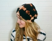 Mens Slouch Hat Black Shibori tie dye Fall Accessories gifts for him slouchy beanie hipster boyfriend gift