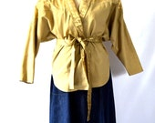 Vintage Tan and Gold 1980's Dolman Sleeve Blazer Jacket with Belt Medium